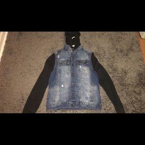 Other - Hooded Combo Denim Jacket